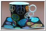 Tasse mit Unterteller James Rizzi, Love and Peace 12 cm