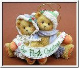 Our First Christmas, Weihnachtsanhänger Cherished Teddies 5 x 7 cm