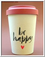 Bamboo Cup BE HAPPY Kaffeebecher creme/ rot 14 cm