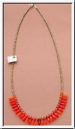 Collier orange/ gold mit Glastropfen 54 cm